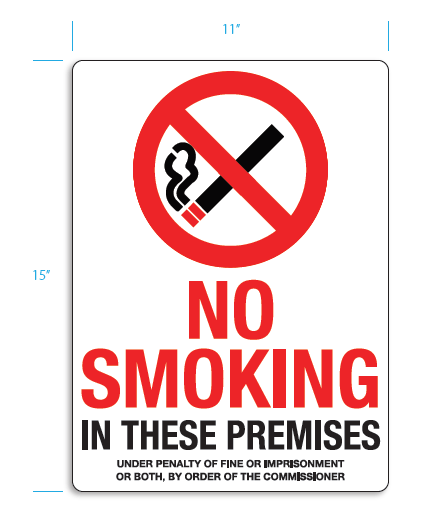 no smoking sign 15x11 aluminum safety supplies unlimited
