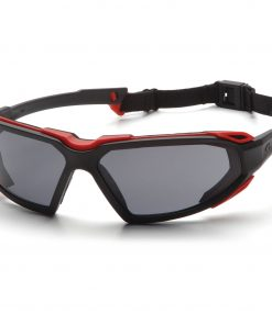 Pyramex Foam Padded Eyewear: Highlander Black and Red Frame with Strap