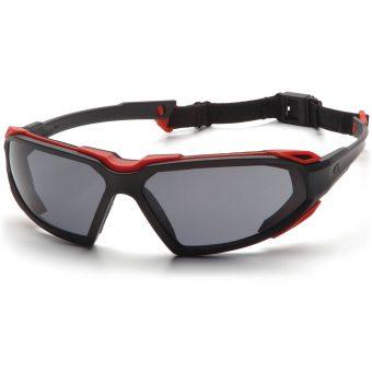 Pyramex Foam Padded Eyewear: Highlander Black and Red Frame with Strap