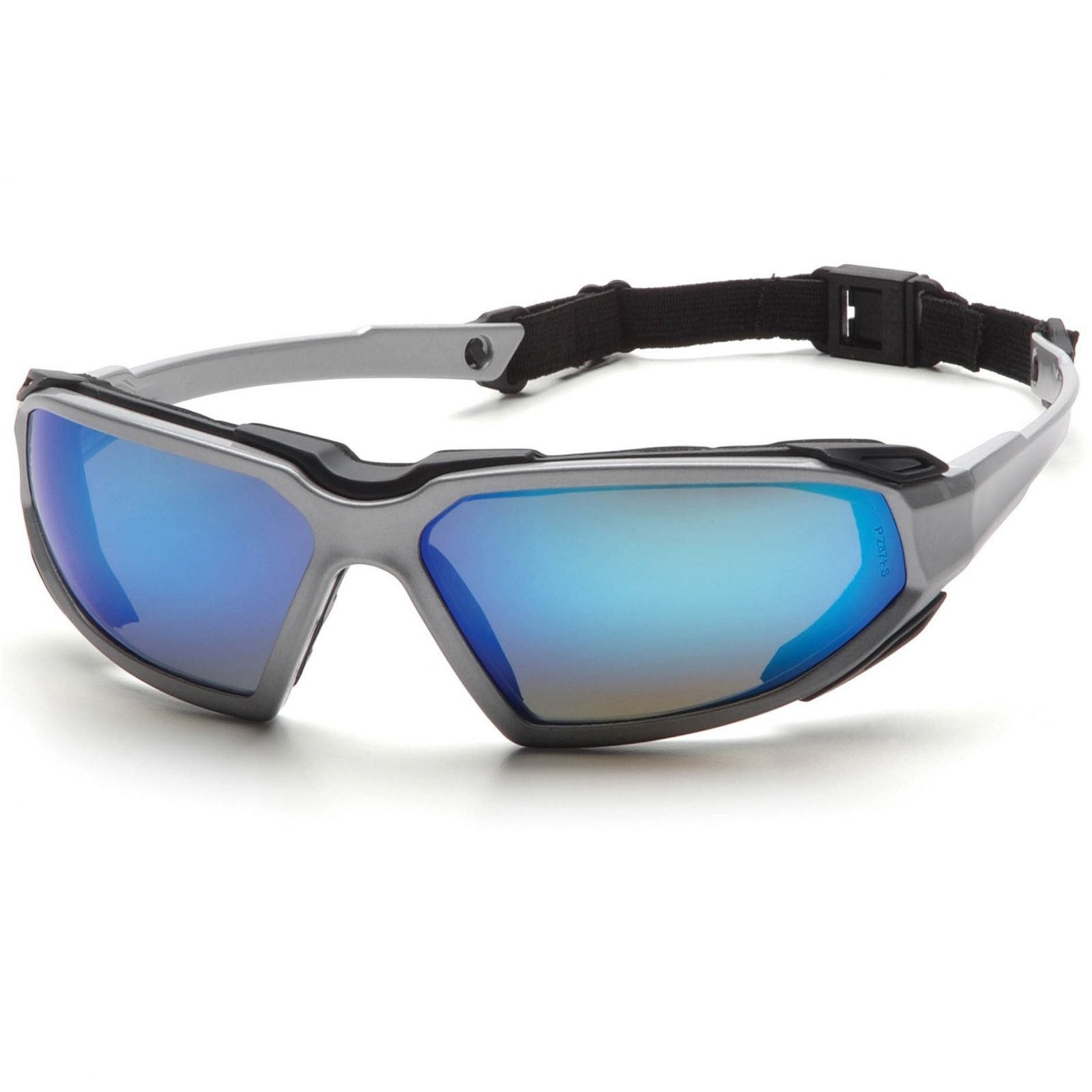Pyramex Foam Padded Eyewear: HIGHLANDER Black and Silver Frame w/ Strap
